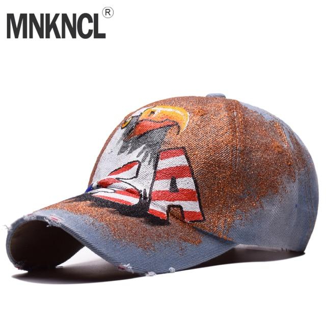 78eeab349fb 2018 New Hand Painted USA Letter Baseball Cap Women Snapback Hats For Men  Bone Feminino Hip