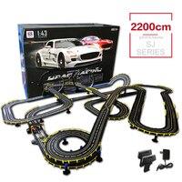 SJ RC игрушечных автомобилей 1:43 высокое Скорость гонки матч серии Длина 2200 см игрушки трек с Электрический проводной Управление автомобиля и