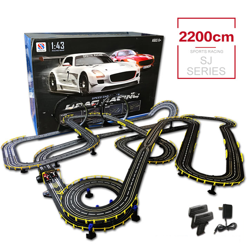 SJ RC Cars Toy 1:43 High Speed Racing Match Series Length 2200cm Track Toy With Electric Wired Control Car Toy Original Brand original authorization rc track car toy 1 43 scale electric wired remote control car track racing toys for children s gift
