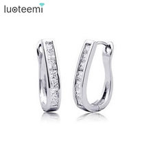LUOTEEMI Clear AAA Cubic Zirconia white gold-Color U Shape Clip On Earrings with Piercing for Women Sexy Jewelry Accessories