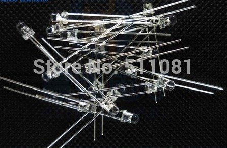 100pcs Clear 3mm LED. White TO Blue Ultra Bright ( Red Green Yellow Blue