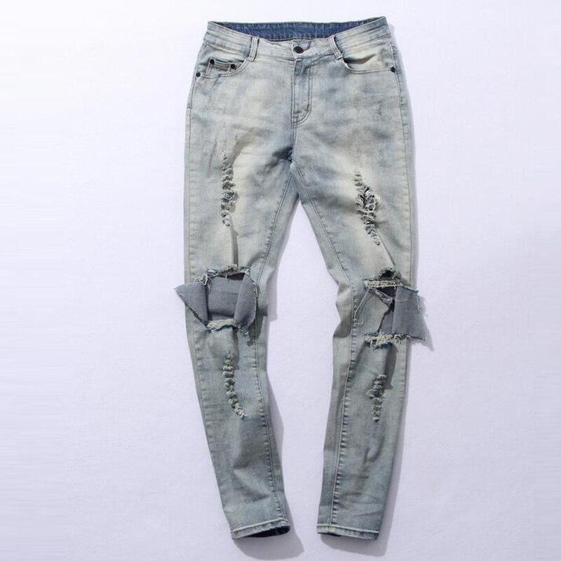 Fashion autumn stretch ripped designer brand jeans hip hop slim fit men broken demin destroy jeans blue and black PANTS TC219