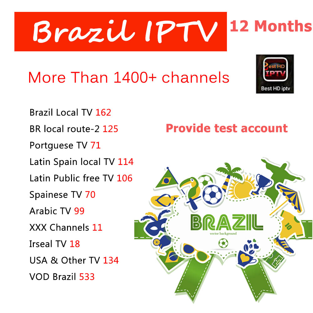 цена 12 Months Brazil IPTV Best HD 1400+ VOD Live Channels Support Android TV Box With Stable Arabic/Brazil/Spain/Portugal/Latin TV