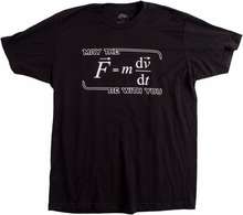 May the (F=mdv/dt) Be with You | Funny Physics Science Unisex T-shirt Short Sleeves Cotton Tops Shirts Men Casual T-shirt