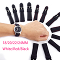 Pbcode 18 20 22 24mm Black White Red Line Silicone Rubber Watch Band Strap for Sport Fashion Watch