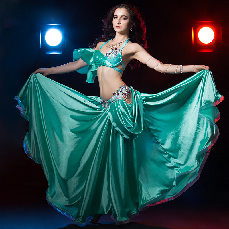 luxury performance dance clothes sexy bra top satin skirt 2pcs women belly dance show set dancer