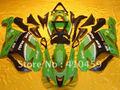 Melhor venda preto verde carenagem para KAWASAKI ZX6R 07 08 ZX-6R 2007 2008 ZX 6R 636 07 08 6R 2007 2008 kit corpo