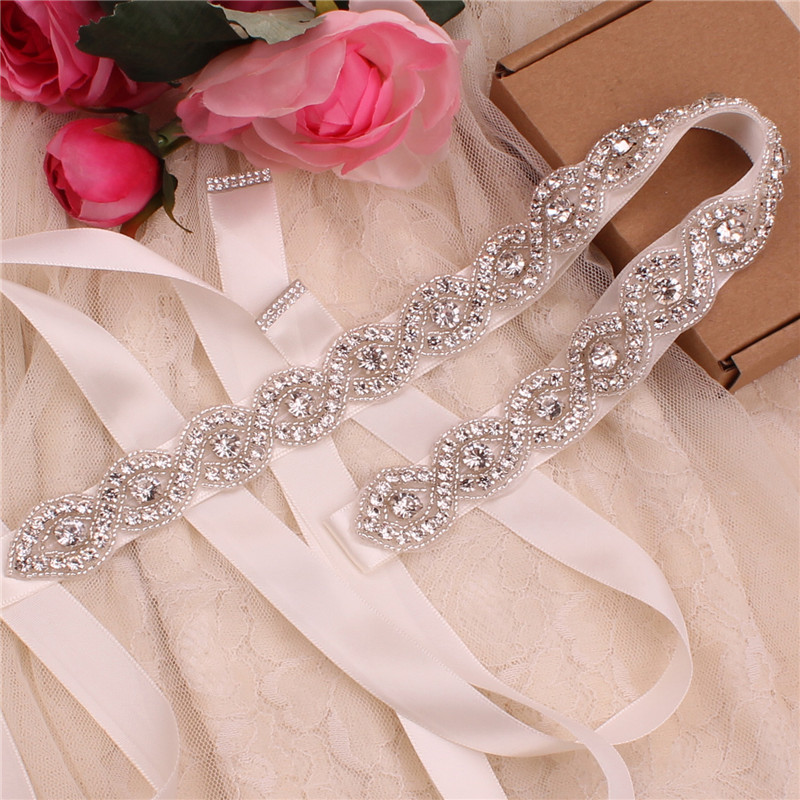 YJWSXF Handmade Bridal Wedding Dress Dinner Crystal Rhinestone Belt Girdle