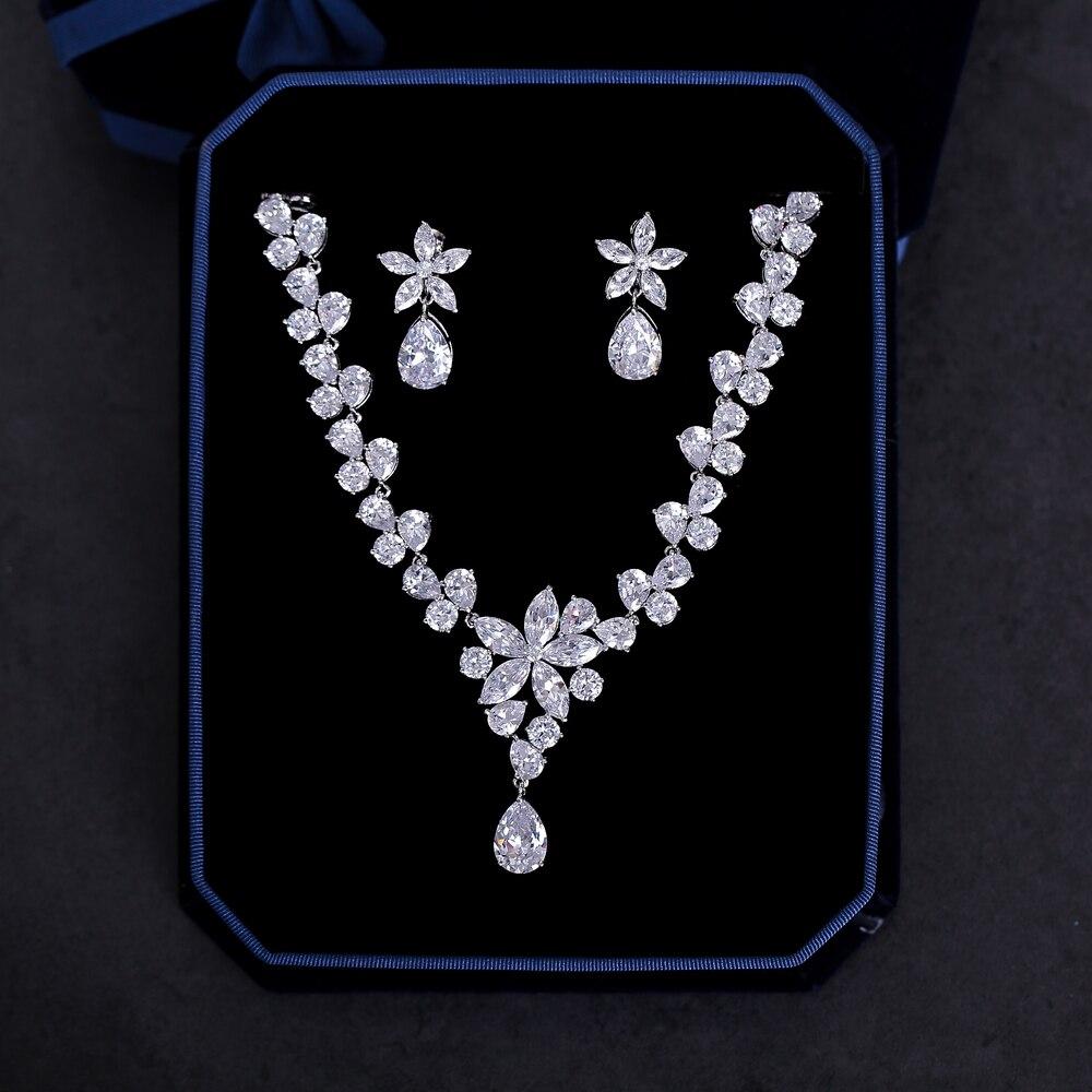 Charmant Zircon cubique bijoux ensembles pour mariage mariée Zircon collier Choker femmes mode boucle d'oreille Clips fête bijoux cadeaux