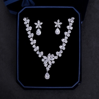 Charming Cubic Zirconia Jewelry Sets for Wedding Bride Zircon Necklace Choker Women Fashion Earring Clips Party Jewellery Gifts