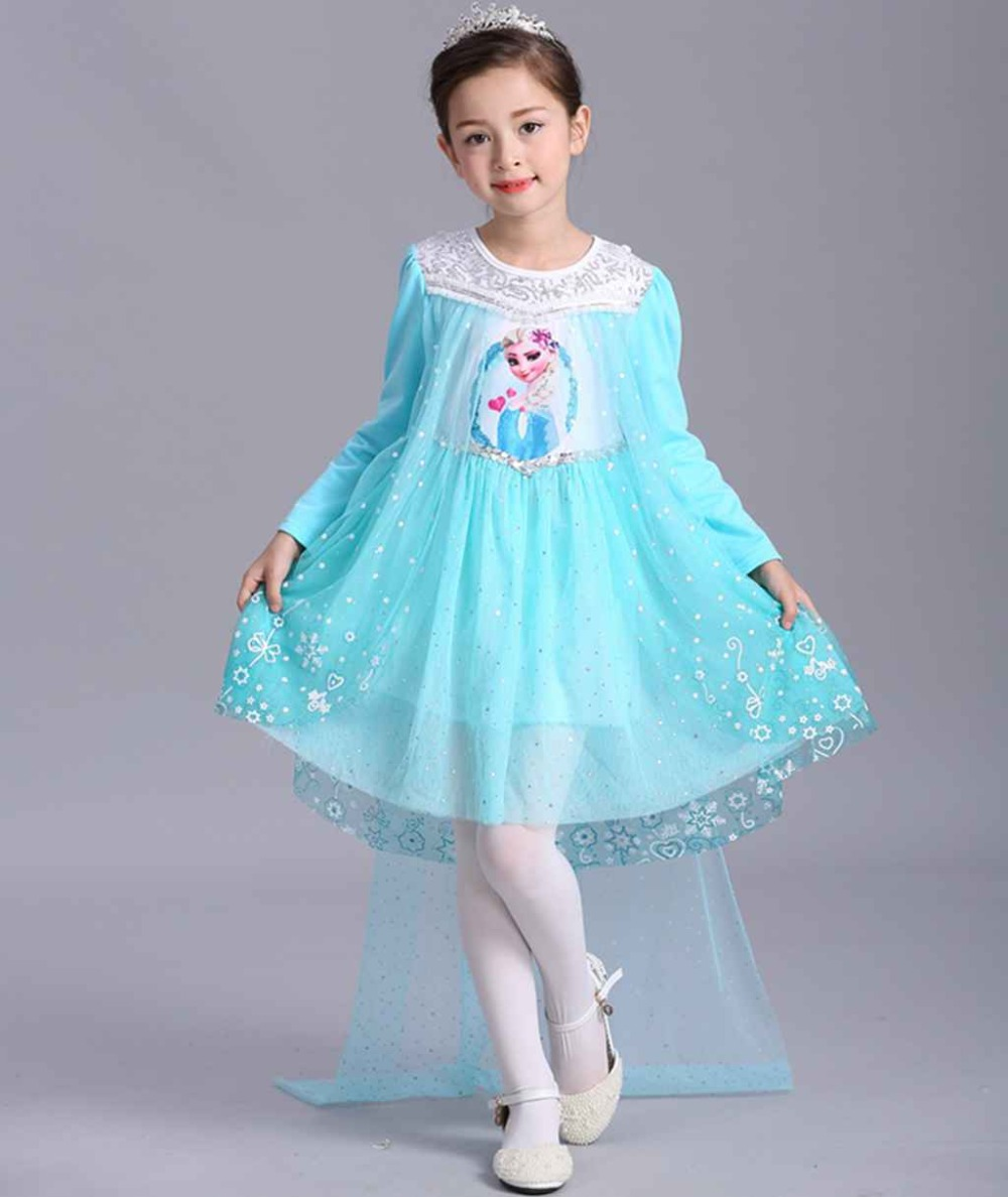 cosplay costume costume princess dress anna elsa dress girls princess gauze sequinned skirt with cloak cotton in Girls Costumes from Novelty Special Use
