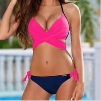 Cross Halter Bikinis Set Women Push Padded Swimsuit Female Swimwear Brazilian Bikini Set Vintage Summer Bathing
