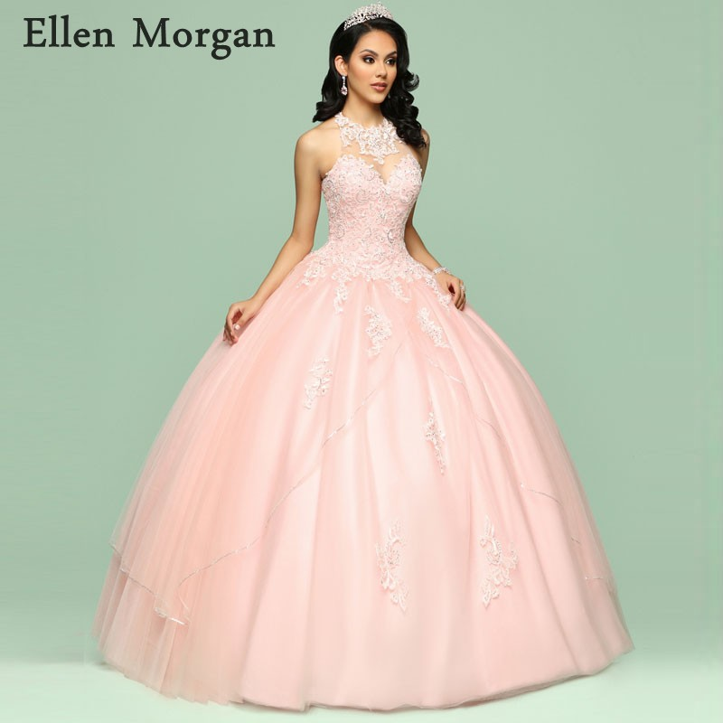 d2c52e2350b Elegant Pink Quinceanera Dresses for Girls 2019 Cheap O Neck Floor Length  Beautiful Sweet 15 Years