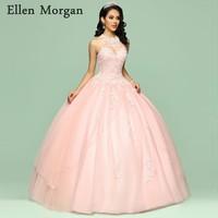 Elegant Pink Quinceanera Dresses for Girls 2019 Cheap O Neck Floor Length Beautiful Sweet 15 Years Prom Gowns for Pageant