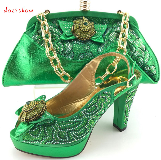 Hot Selling green Color African Shoes and Bags Matching ...