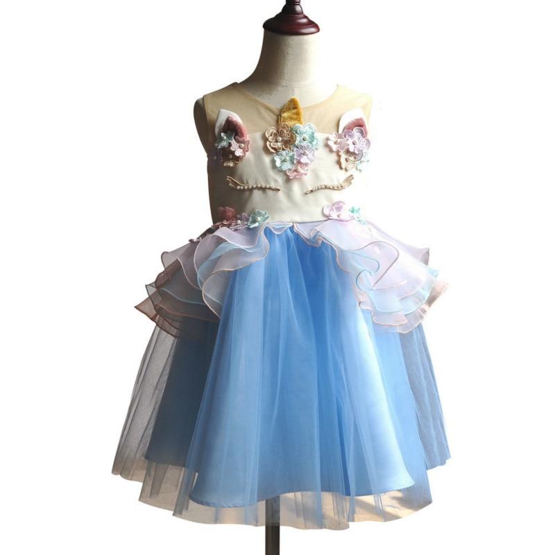 2018 2pcs Kids Rainbow Unicorn Tutu Girls Dress Pearl Layered Baby Girl Princess Dresses Children Cosplay Clothing Hair Headwear pearl beading layered fringe detail dress