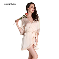 Age Season New French Long Sleeved Sexy Nightgown Pajamas Female Lace Show Thin