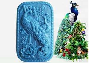 dulces gerFogoo Molde de resina 3D de pavo real para hacer joyas molde de silicona para chocolate etc. jab/ón velas