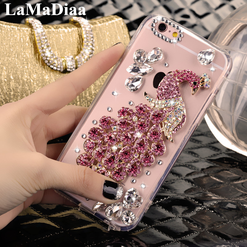 LaMaDiaa Phone Cases For Samsung A3 A5 A7 J3 J5 J7 2016 2017 Luxury Glitter Diamond Peacock Crystal Soft TPU Mobile Phone Case