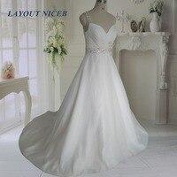 Elegant Vestido De Noiva Long Bridal Gown A Line Organza Wedding Dresses 2017 Wedding Dresses Straps
