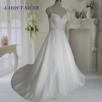 Elegant Vestido De Noiva Long Bridal Gown A Line Organza Wedding Dresses 2017 Wedding Dresses Straps