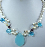 Lady's charm white pearl& moonstone/blue gem bead necklace pendant