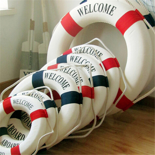 Welcome Aboard Nautical Life Lifebuoy Ring Boat Wall Hanging Home Decoration Mediterranean Style 4