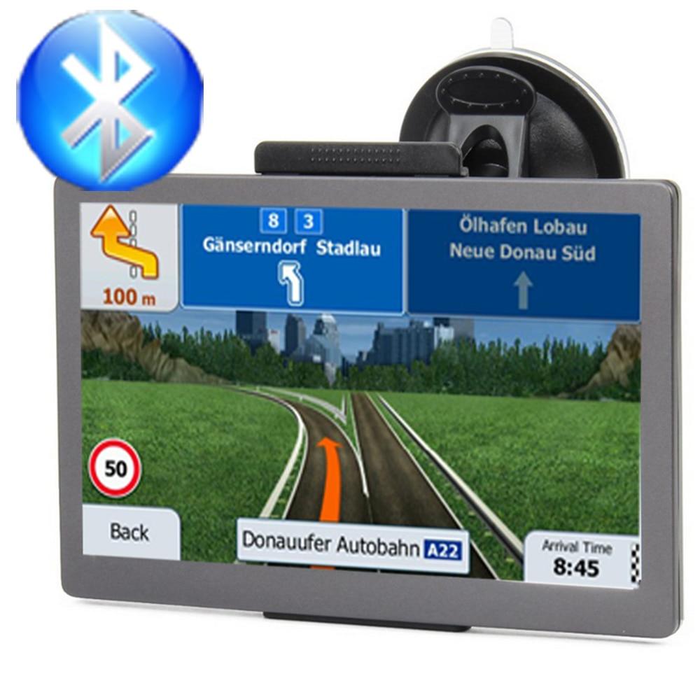 GPS do carro navegador 7 polegada HD FM Bluetooth voz trafflc alarme caminhão de navegação 128 M + 8G de memória mais recente europa mapa