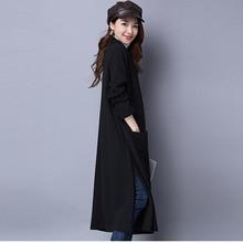 Ветровка женская осень и зима утолщение тонкий куртка с длинными рукавами с длинным разрезом кардиган