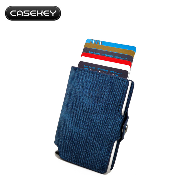d6534ba20f7c US $10.99 |Credit Card Holder Travel PU Jeans Wallet Slim RFID Protector  Wallet Men Women NFC Anti Metal Case ID Card Extra Thin Wallet-in Wallets  ...