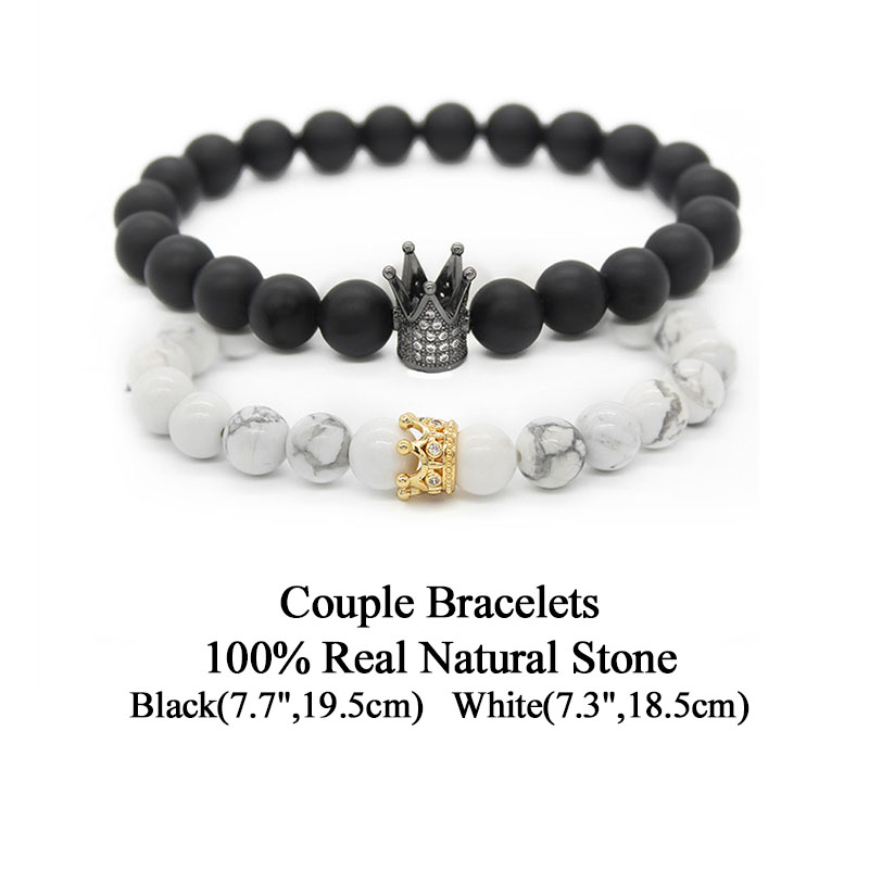 Valentine S Day His And Hers Bracelets Distance Black White Beads Cz Crown King Charm Stone Bracelet Mbr170283 Whole
