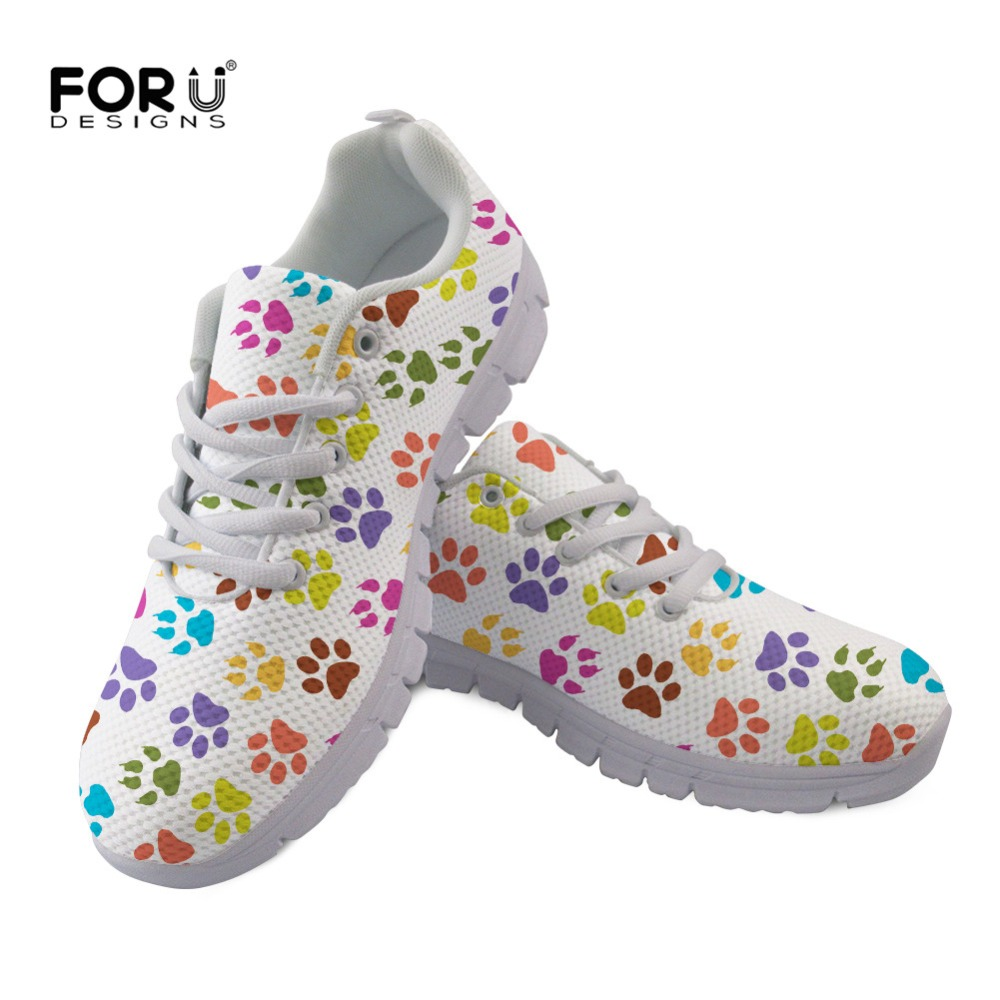FORUDESIGNS Casual Women Shoes Flats Colorful Dog Paw Print Lace-Up Leisure Flat Shoes Woman Ladies Shoes Round Toe Girls Shoes