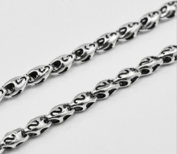 925 sterling silver men's long thick necklace chain thai silver necklace 45cm to 60cm  (HY)