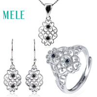 MELE Natural Black Spinel 925 sterling silver Jewelry Sets for women,Fashion classic style wtih 1.8mm gemstone new