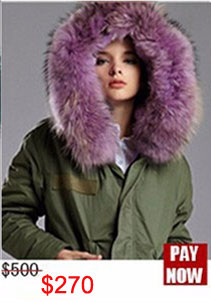 Factory wholesale price Women's Vintage Retro Fur Hooded Military Parka Jacket Coat with pink lined and collar fur mr 19