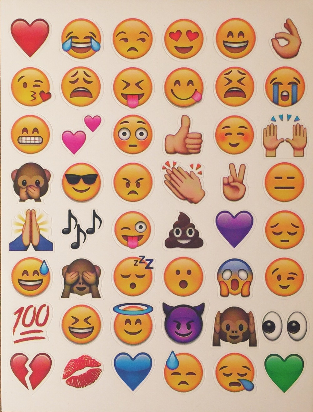 one sheet (48 Die Cut emoji stickers)  sticker Most Popular Emojis For Mobile Phone Kids  Home
