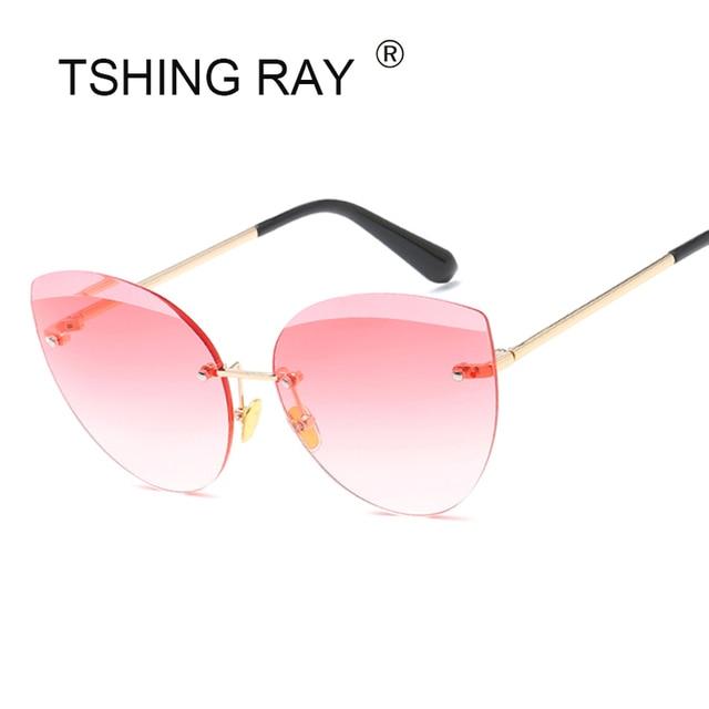 35388ff256f TSHING Elegant Rimless Gradient Cat Eye Sunglasses Women Fashion Diamond Cut  Lens Luxury Oversized Clear Sun Glasses For Female