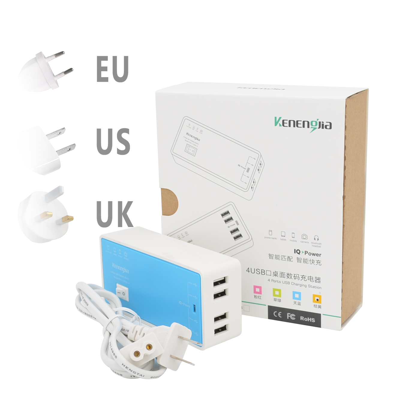 цена на Power Adapter 5V Full 4A Tablet 4 Port USB Wall Charger For Pad/Phone US EU UK AU Plug Optional