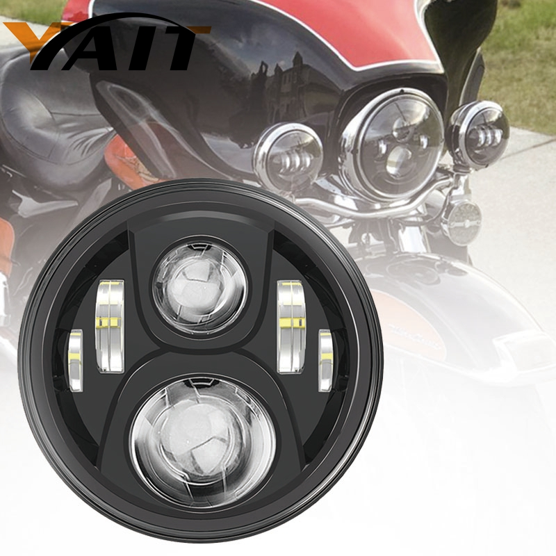 Yait 1pcs 7 INCH High Low Beam Led Motorcycle Headlight Motos 7 Headlight 12V For Harley Touring Trike Model Motor Headlamp