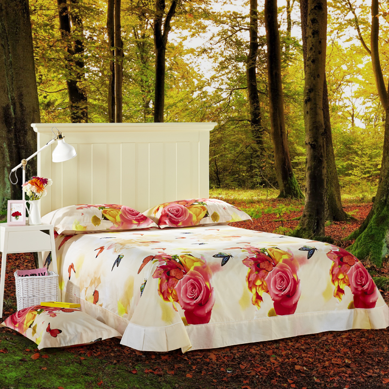 01f39123b7 Cor brilhante Borboleta 3D Flor Meninas de Cama Queen Size ...