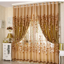 Hot ! 2 Lays Luxury Blackout Burnout Curtains for Living Room European Tulle Curtains For Bedroom window treatments L-003
