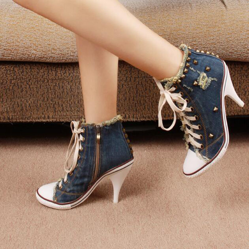 Latest Denim Round Toe High Heel Lace Up Botas Mujer Rivets Embellished Cowboy Ankle Boots Hot Sale Party Dress Shoes Woman promotion vintage round toe mid heel booties mujer fringe embellished ankle cowboy boots party vocation dress shoes women