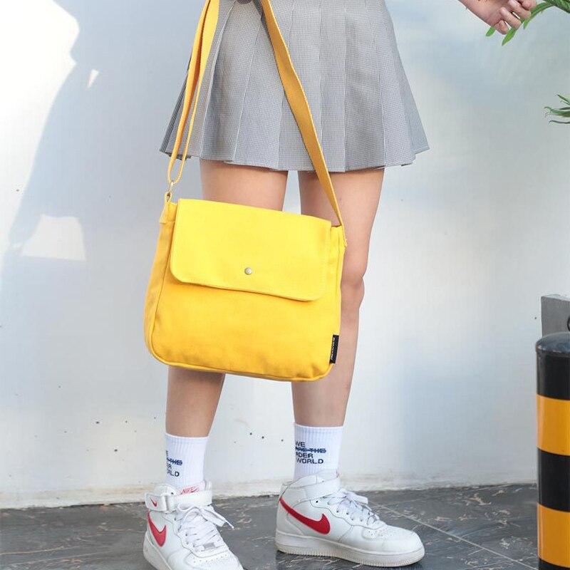 Totes Messenger-Bags Crossbody-Bag Canvas School-Books Cute Ladies Pure-Cotton Cloth