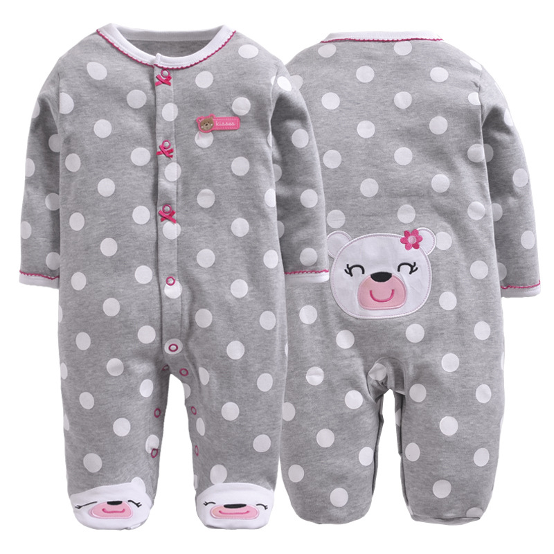 Baby Rompers Newborn Baby Boy Cotton Cartoon Rompers 0 12 Months Baby Foot Cover Jumpsuit for Spring Infant Clothing in Rompers from Mother Kids
