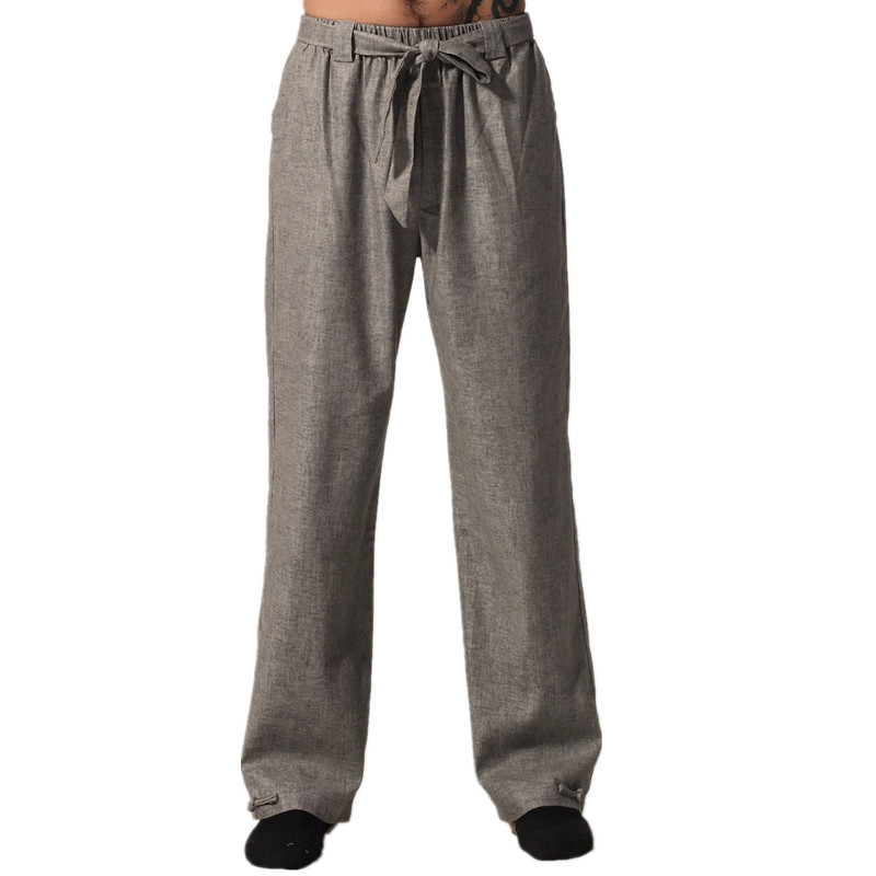 Top Quality Gray Chinese Mens Kung Fu Trousers Cotton Linen Pants Wu Shu Clothing Size S M L XL XXL XXXL MN001