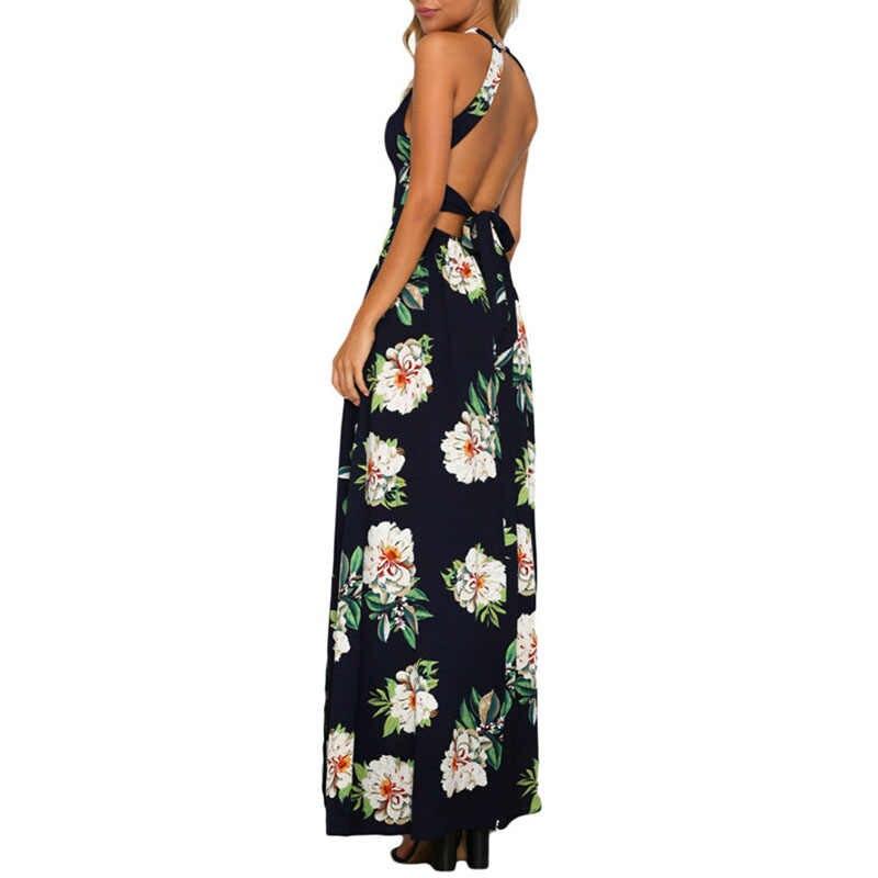 2017 Summer Flora print Backless Women Lady Casual Sleeveless Long Dress Low-Cut Sexy kick Pleat Dress