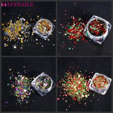 12 Pcs SET - Holographic Laser Glitter Sequins Colors Mix Size Round Holo Paillette Nail Flakies For NEW art Trend PLA52