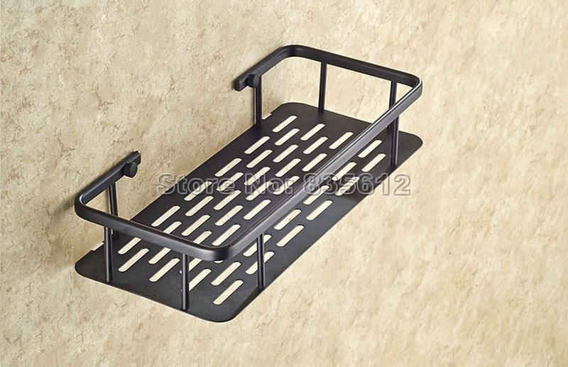 Free Shipping 300mm Black Wall Mounted Bathroom Storage Shower Rectangle a Basket Oil Rubbed Brass Finish Wba528