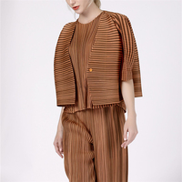 Slender loose striped pleated jacket cardigan button down jacket ISSEY PLEATS jacket free shipping