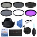 58mm UV CPL FLD+ ND2 ND4 ND8 Filter kits + Lens Hood + Cap + Cleaning Kit for Canon Rebel T4i T3i T3 T2i T1i XT XS XSi 18-58mm